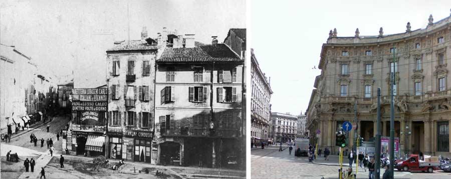piazza cordusio via orefici1 - Фото Милана: в начале прошлого века и сейчас