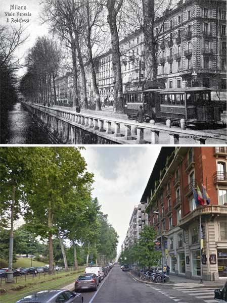 viale vittorio - Фото Милана: в начале прошлого века и сейчас
