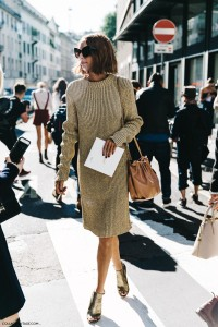 MFW Milan Fashion Week Spring Summer 2016 Street Style Say Cheese Candela Novembre Knitted Dress Golden Shoes 790x1185 200x300 - Другая мода Милана