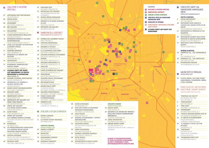 AAF Milano ArtNightOutFlyer Map side1 - Пропустить нельзя: Affordable Art Fair в Милане