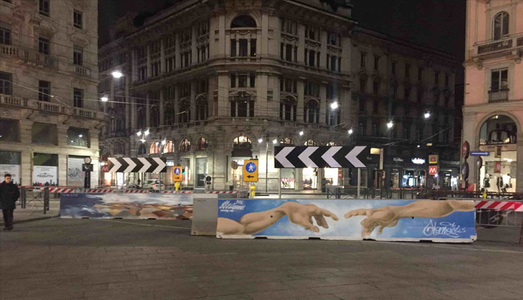 Милан ночная площадь Дуомо и граффити - О, креативный Милан: ночная площадь Дуомо и граффити