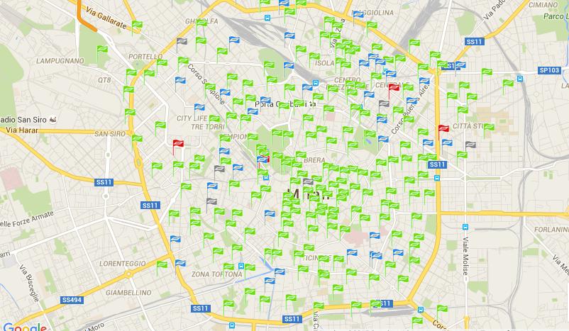 Станции проката велосипедов BikeMi в Милане ©bikemi.com