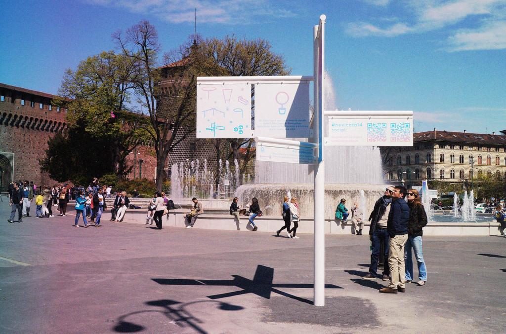 площадь кастелло Милан nevicata